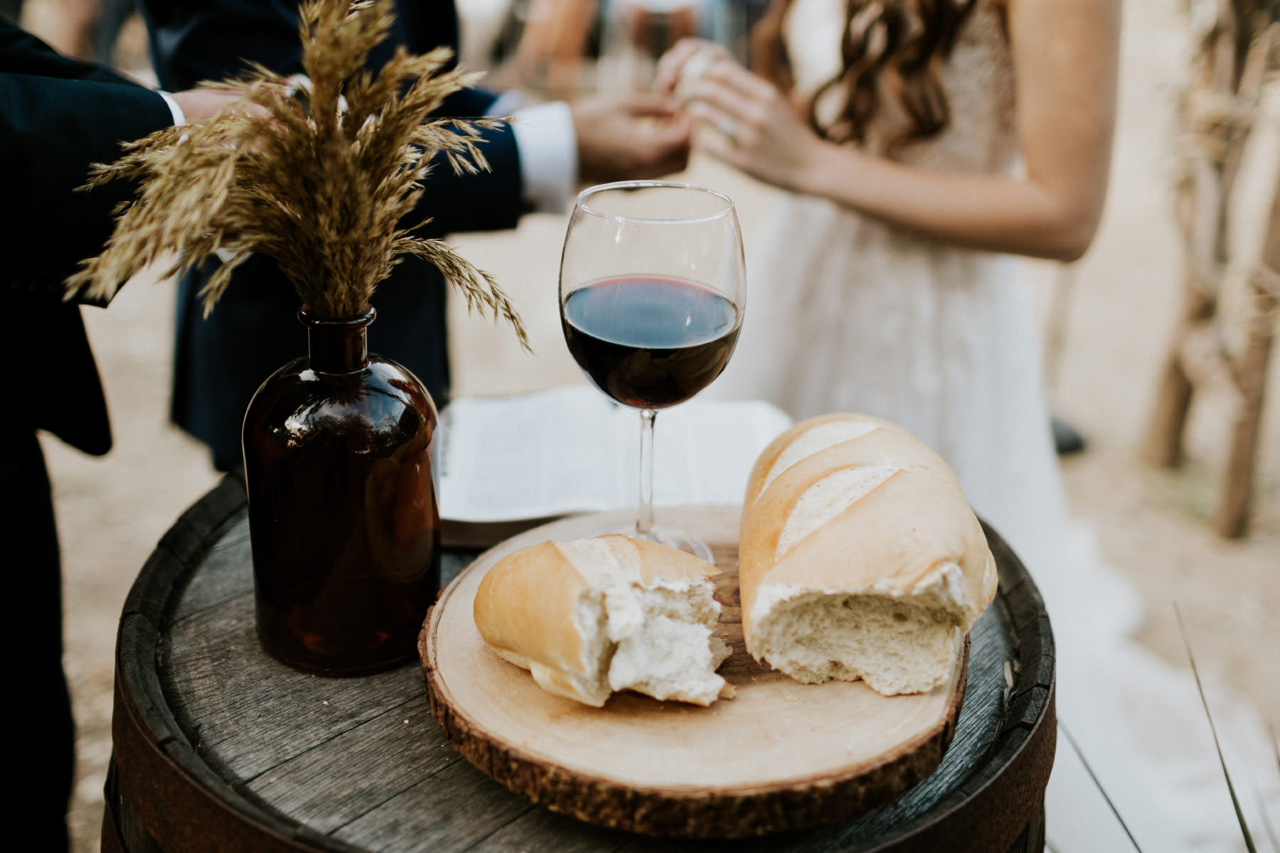 Communion at Terra Madre Gardens wedding