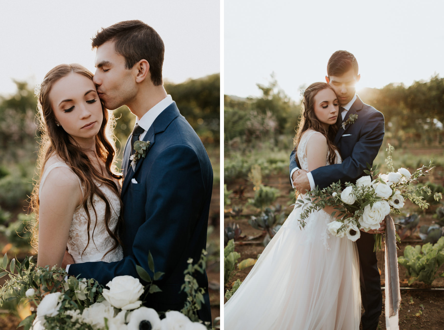 Bride and groom romantics at Terra Madre Gardens