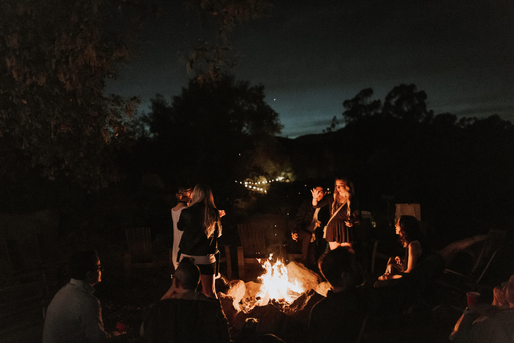 Campfire at Terra Madre Gardens wedding