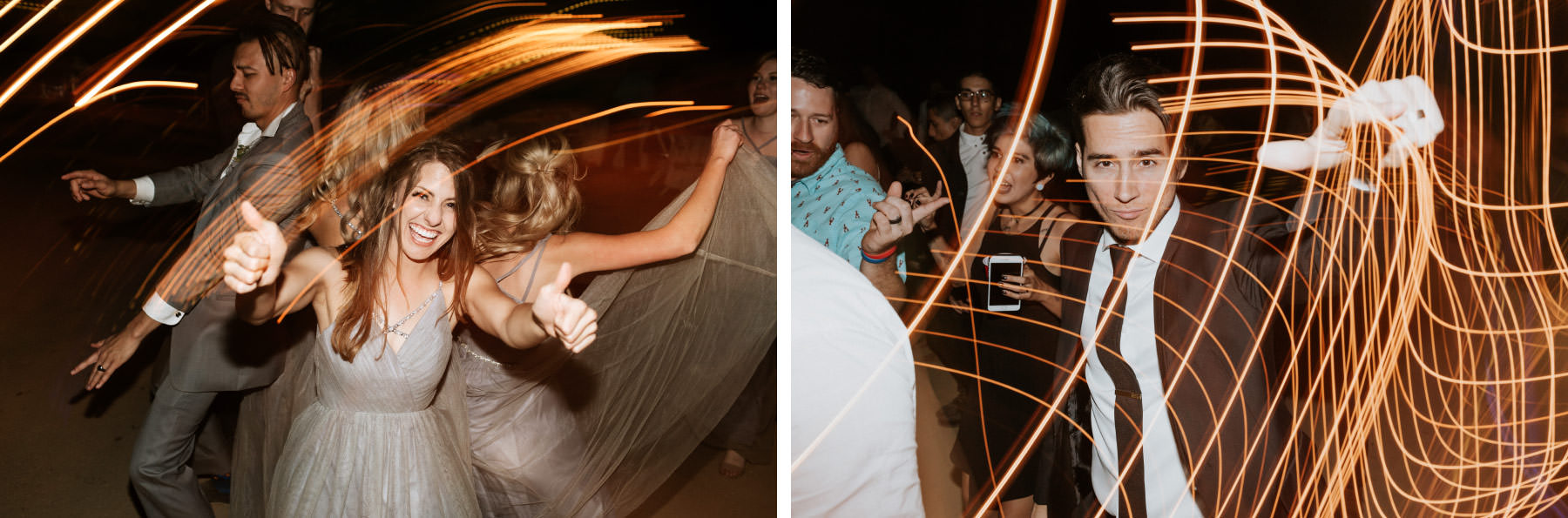 Long shutter drag wedding guests dancing at reception