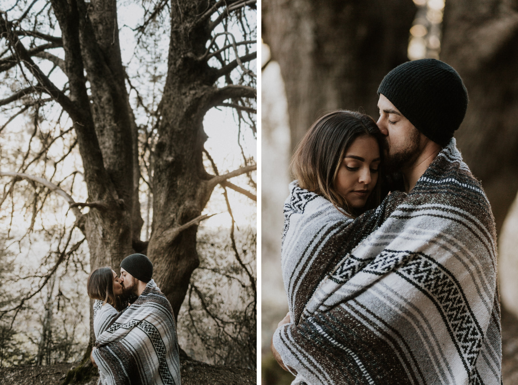 Engaged couple wrapped up in a blanket