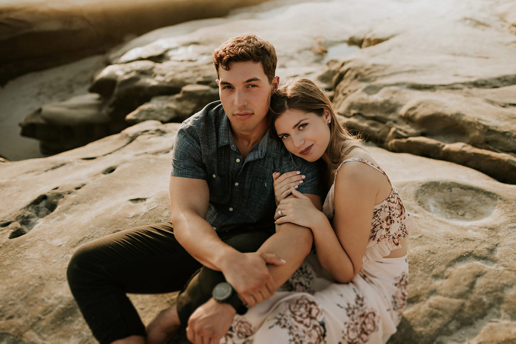 Windansea beach engagement session at sunset