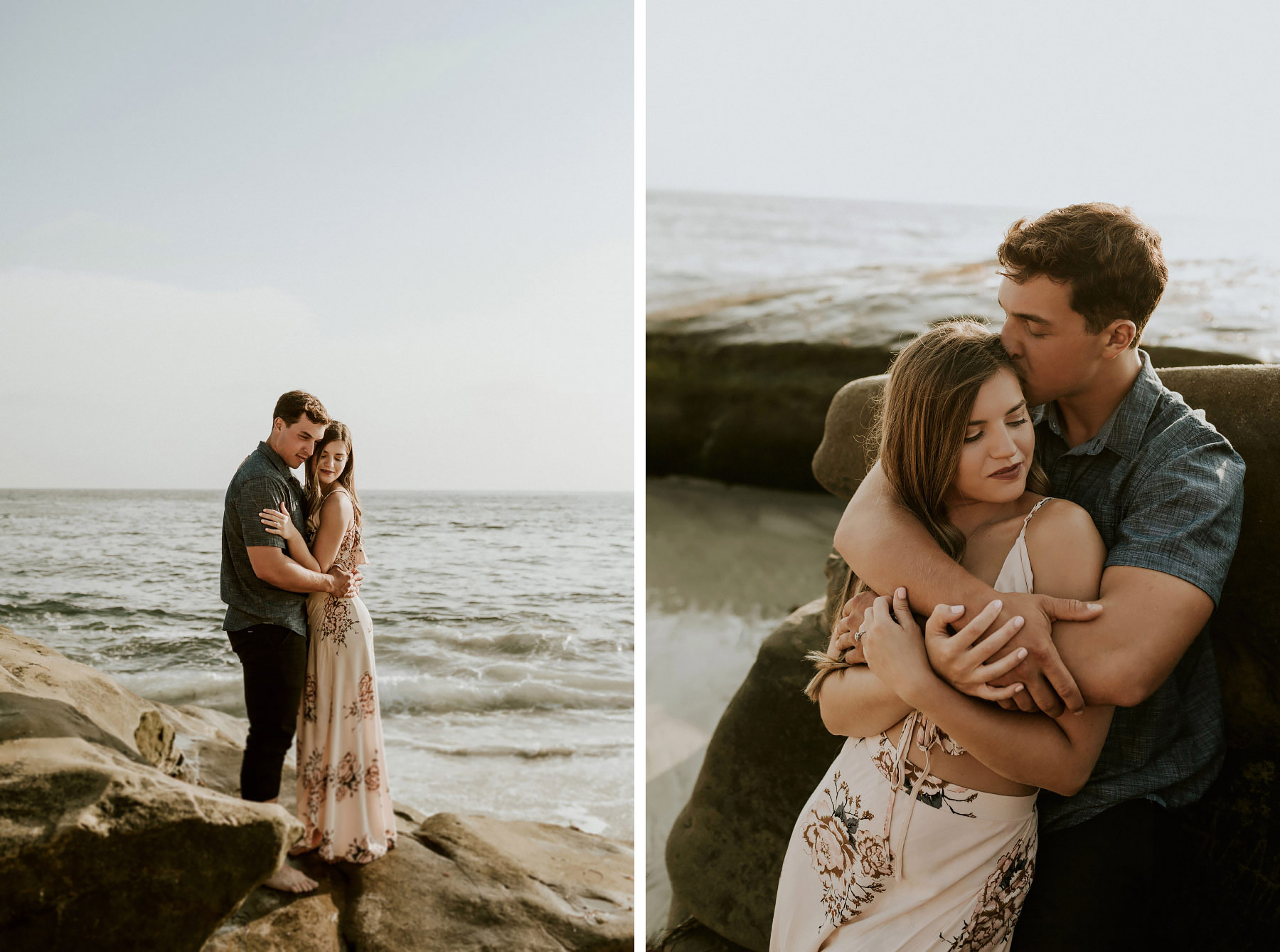 Couple embracing against beach rocks