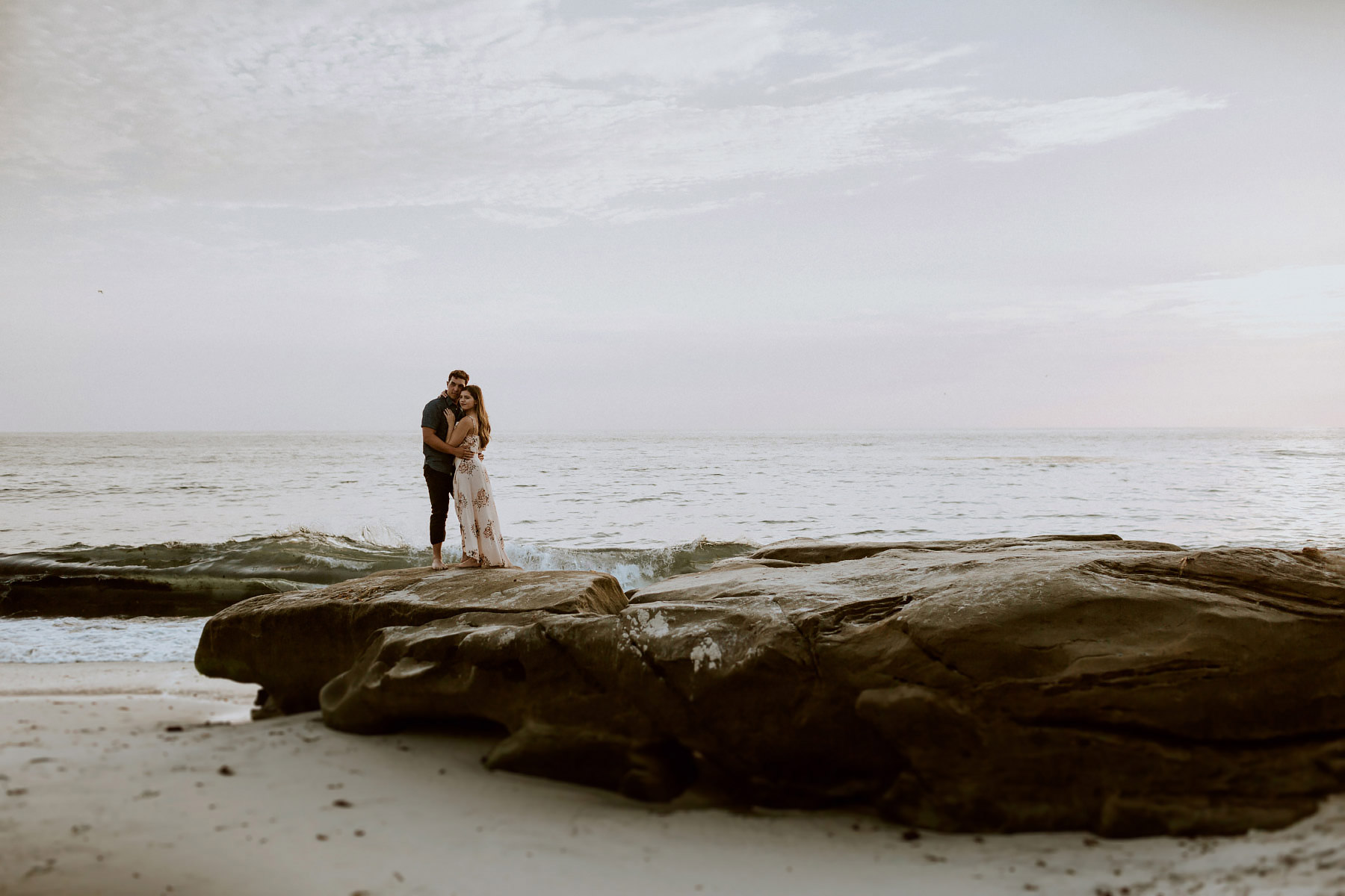 Sunset engagement at Windansea beach
