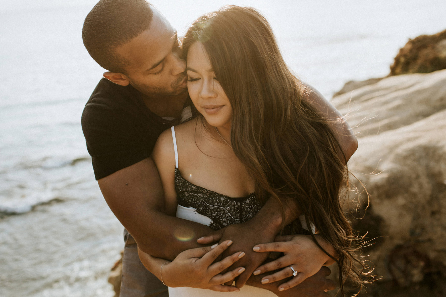 Sunset Cliffs golden hour engagement session