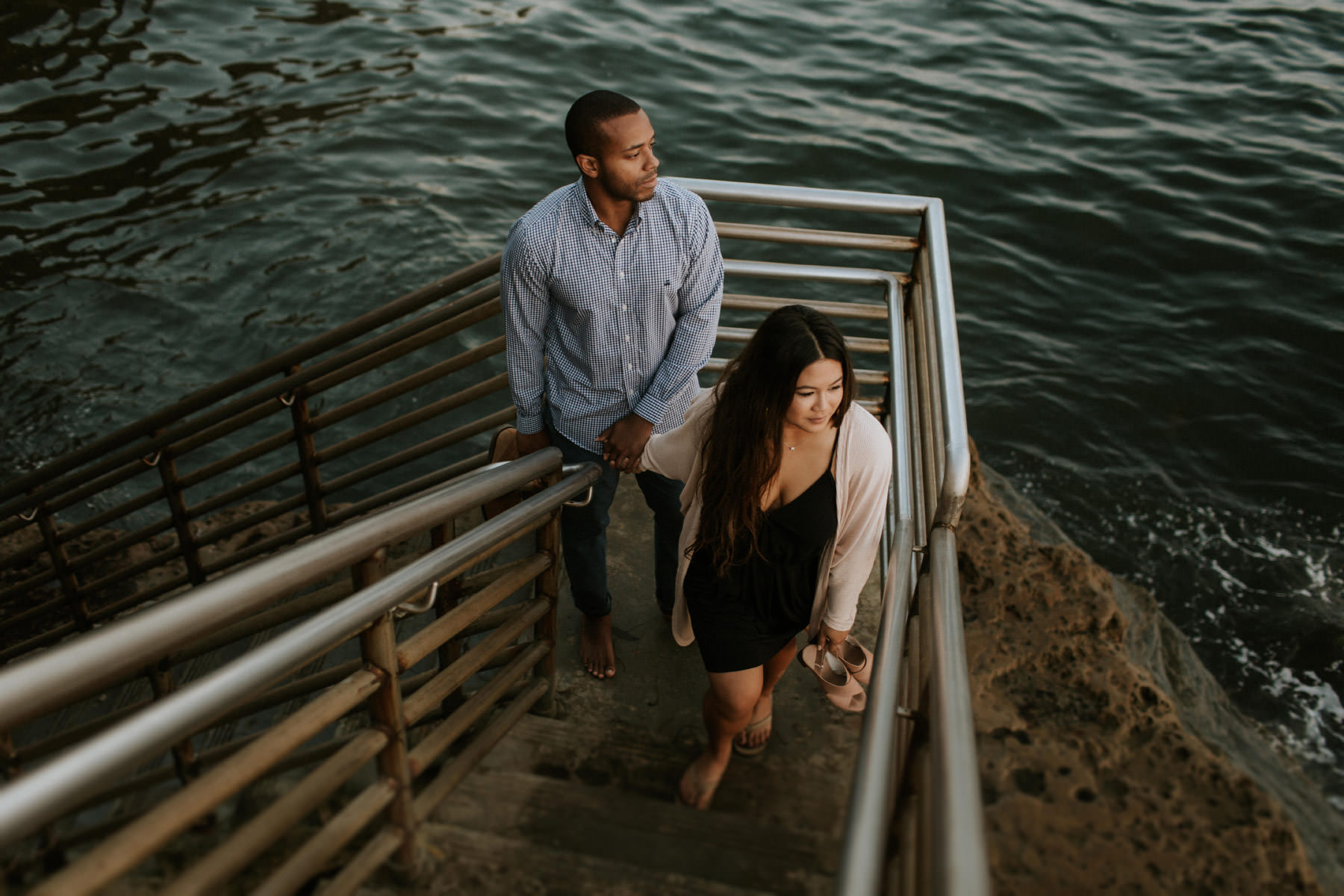 Sunset Cliffs stairs engagement session