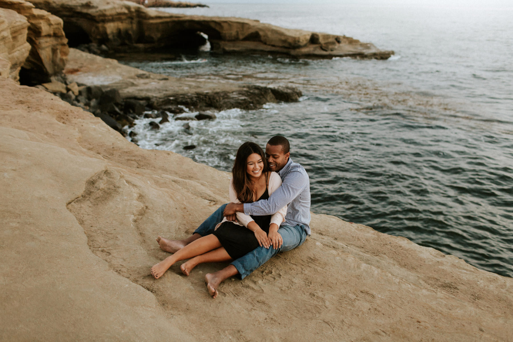 Sunset Cliffs engagement near the Arch