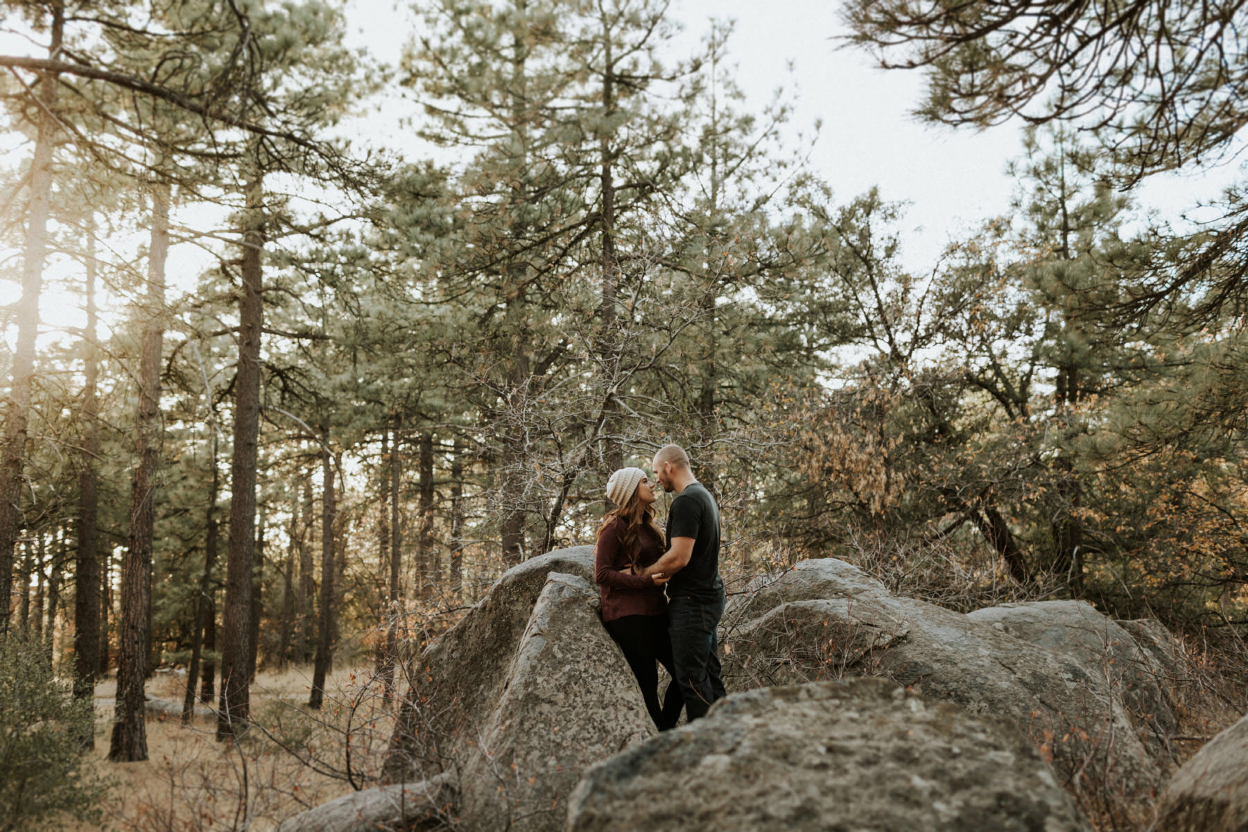 Couple in the woods of Mount Laguna