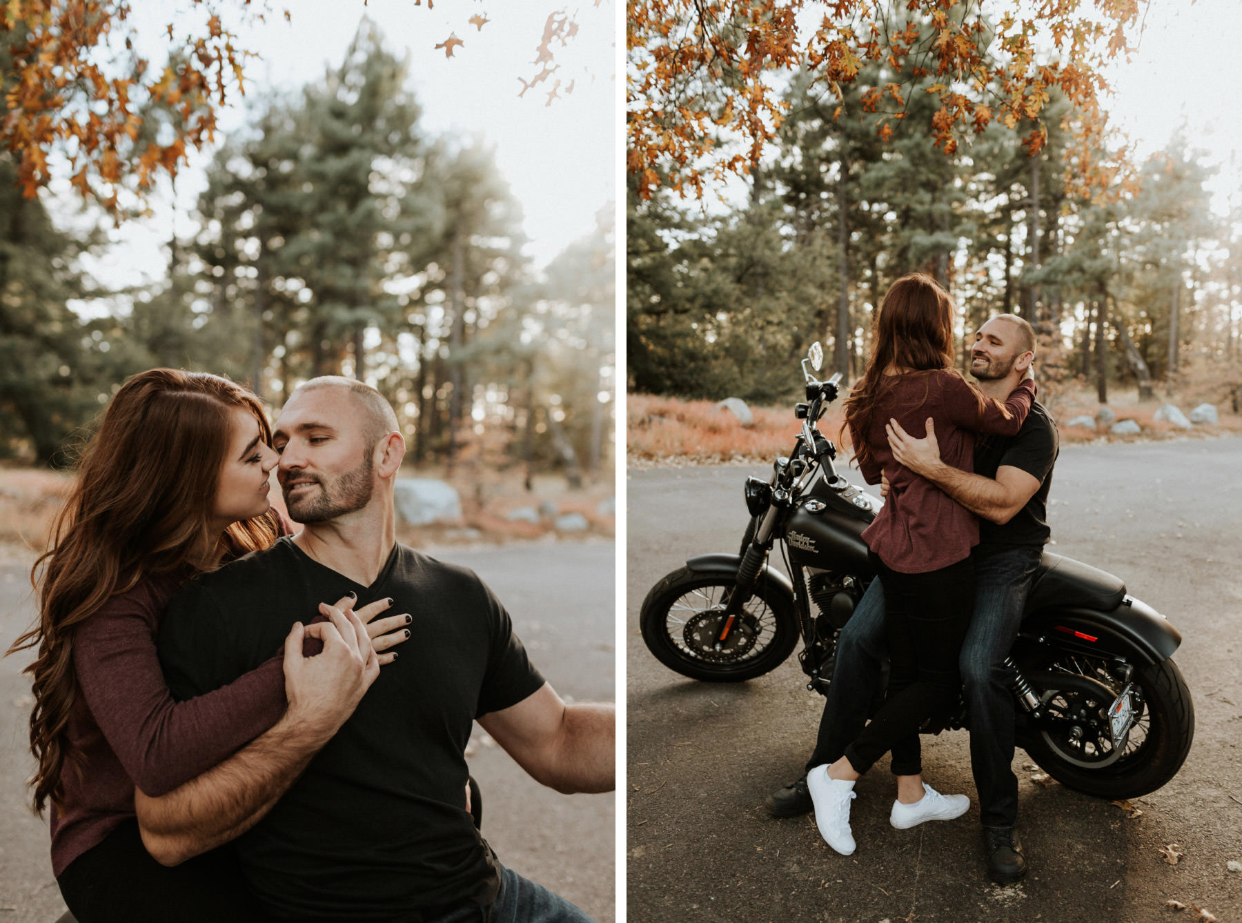 Couple kissing on a motorcycle in the woods