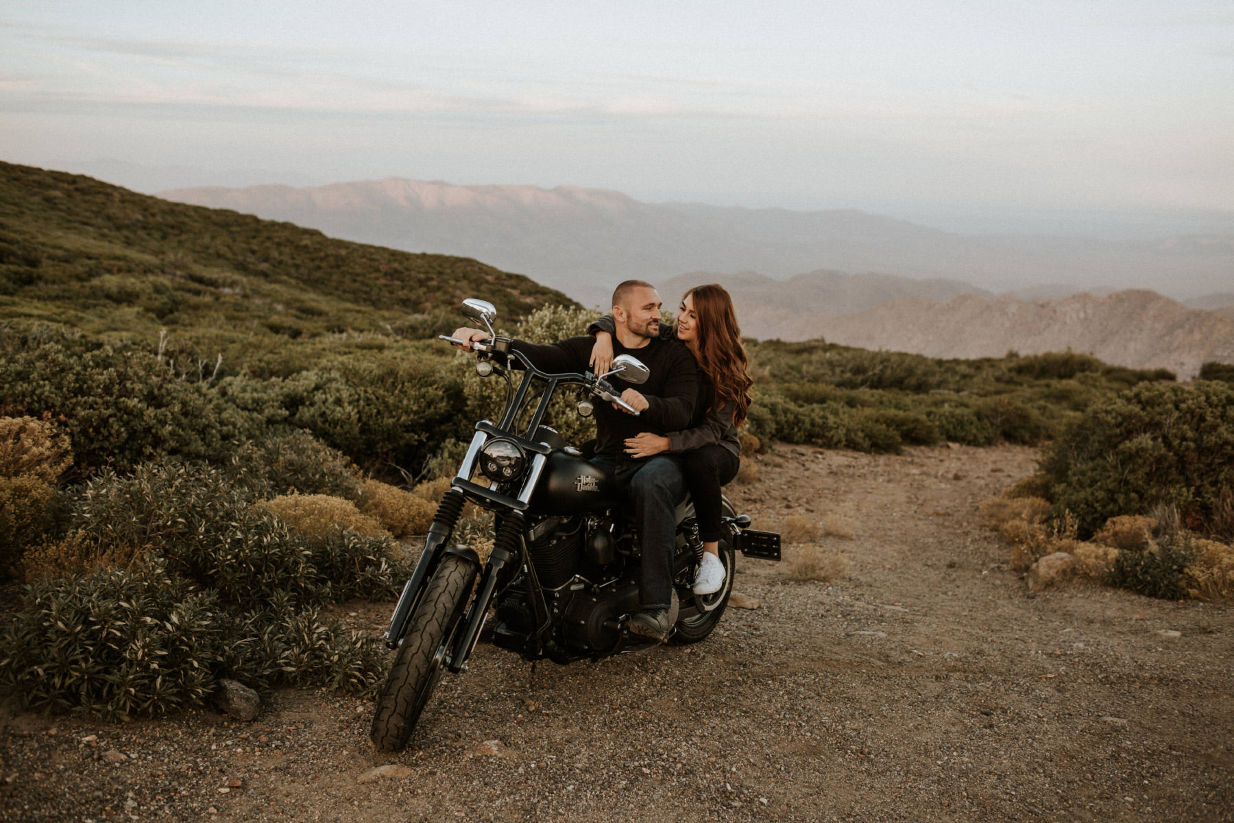 Mountain motorcycle couple