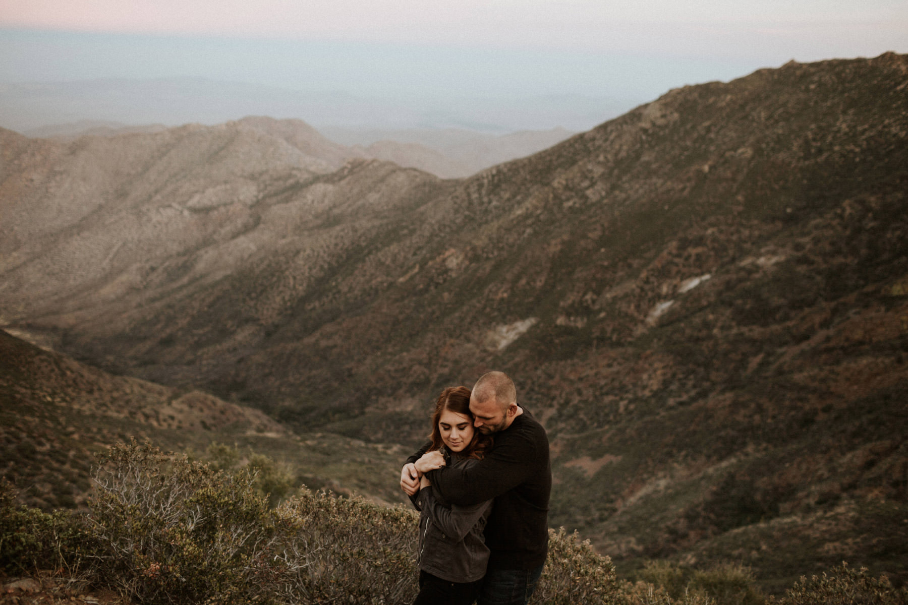 Couple embracing at Mount Laguna