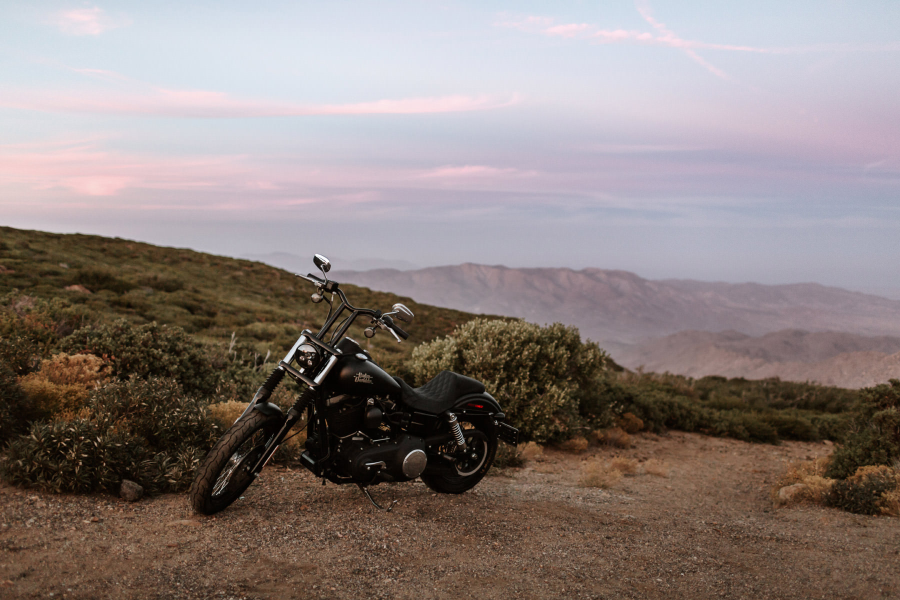 Harley Davidson at desert overlook